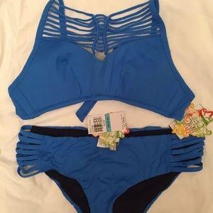 Size OX(14/16) Becca Swimsuit Blue Bikini Strappy
